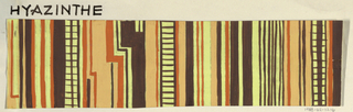 Partial view of pattern design with stripes and checkers of pale yellow, pale orange, orange, and brown.