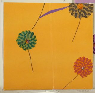 Four scattered blossoms on orange ground; three with rounded petals in blue, red, and grey.