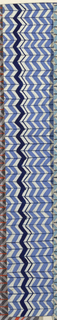 Chevron pattern in white, blue, and navy blue.