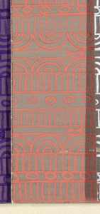 Geometric line pattern in peach and gray conisisting of consecutive alternating rows of vertical lines, ovals, arcs, bowties, bulls-eyes, and flowers.