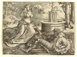 At right the body of Pyramus is on the ground, and at left stands Thisbe, throwing herself on her sword.  A fountain is seen in the background at right.