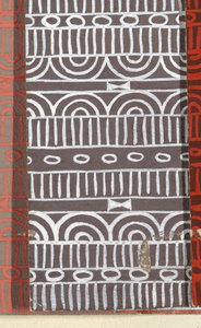 Geometric line pattern in white and brown conisisting of consecutive alternating rows of vertical lines, ovals, arcs, bowties, bulls-eyes, and flowers.