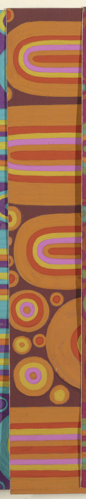 Abstract pattern of circles and U-shapes arranged in a closely placed horizontal alignment. Shapes are built up of overlapping colors of varying thickness in maroon, orange, brown, and pink