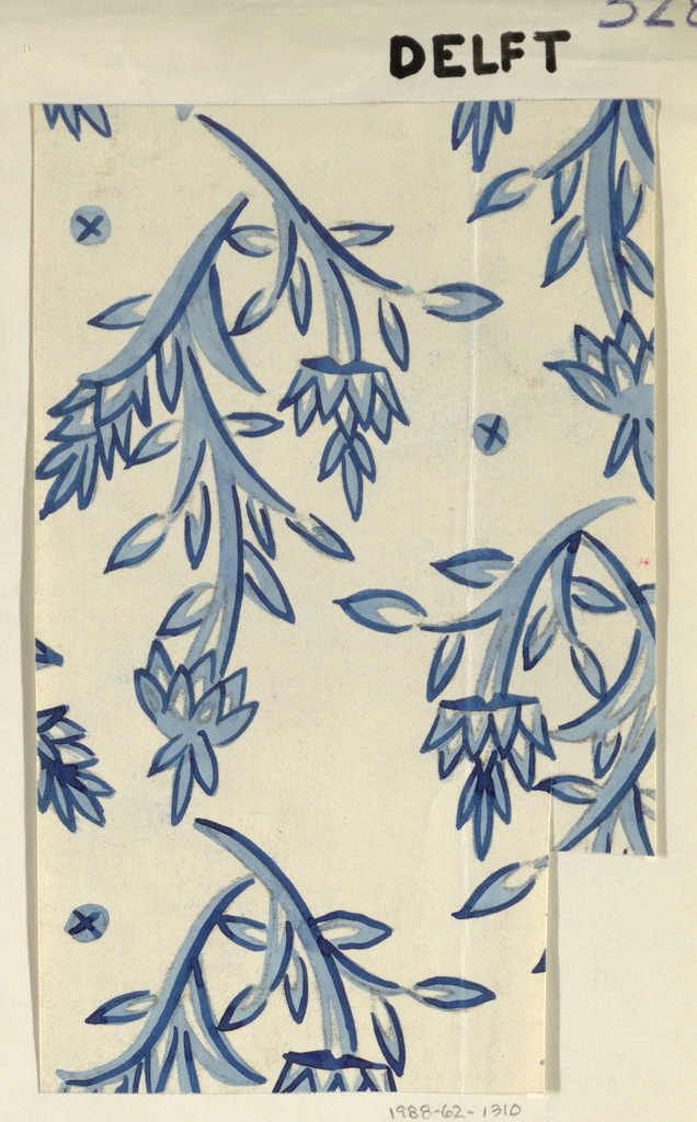 On white ground, stylized branching blue flower forms outlined in dark blue, with petals and leaves highlighted in contrasting white.