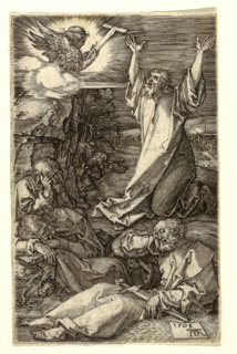 Night-time, outdoor scene. Sleeping figures occupy the lower section of the image book and sword in hand, while the kneeling figure of a bearded, robed Christ holds his arms up to an illuminated angel, appearing in profile, surrounded by clouds, and holding a T-cross. Signed 1508 AD, lower right.
