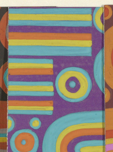 Abstract pattern of circles and U-shapes arranged in a closely placed horizontal alignment. Shapes are built up of overlapping colors of varying thickness in purple, teal, and yellow