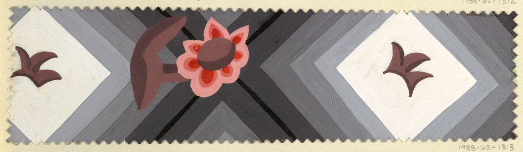Repeating diamond shapes with leaf motif in middle and pink and coral daisy flower in between on gray background. Pinked edges.