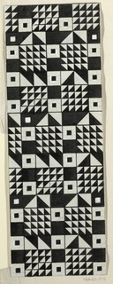 Geometric pattern consisting of a grid of squares and triangles forming squares in black and white.