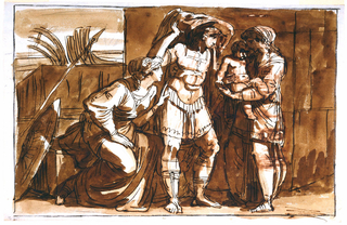 Hector is shown removing his helmet.  The nurse holding the frightened Astyanax stands at right.  Andromaca crouches at Hector's side.  A street seems to be the setting.