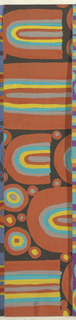 Abstract pattern of circles and U-shapes arranged in a closely placed horizontal alignment. Shapes are built up of overlapping colors of varying thickness in orange, turqoise, yellow, and taupe