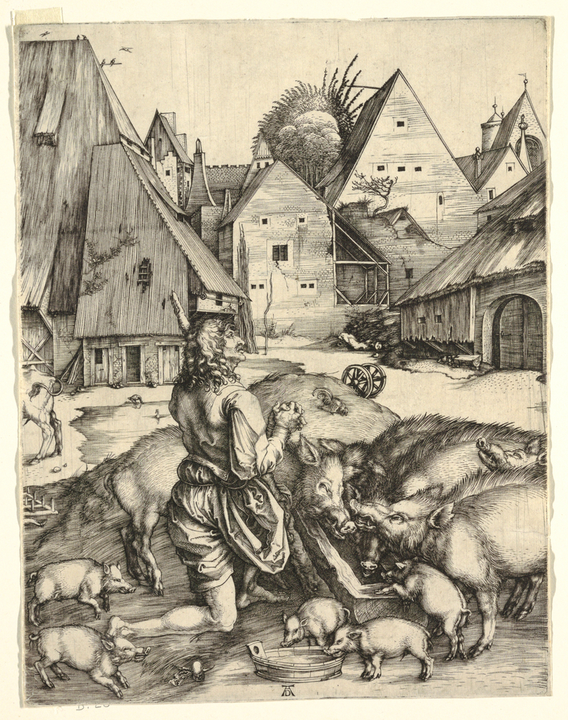 The prodigal son as a swineherd. He is seen in profile, facing right, and represented praying on his knees, his hands clasped together. Before him a group of pigs are eating from a trough. Houses in background.