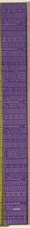 Geometric line pattern in plum and purple conisisting of consecutive alternating rows of vertical lines, ovals, arcs, bowties, bulls-eyes, and flowers.