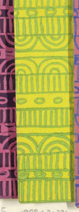 Geometric line pattern in yellow and green conisisting of consecutive alternating rows of vertical lines, ovals, arcs, bowties, bulls-eyes, and flowers.