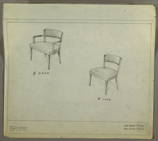 Drawing, Armchair, Upholstered; Sidechair, Upholstered