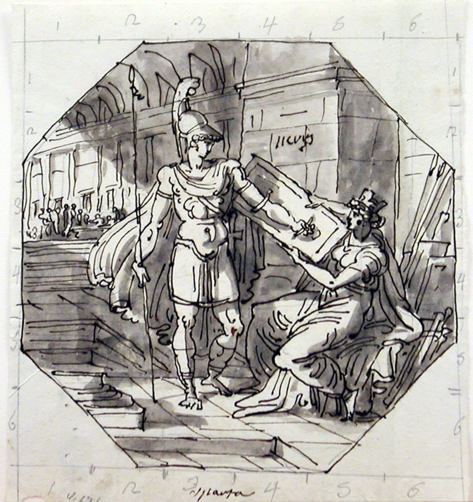 Young man in armor shown receiving shield from woman seated in armory. Staircase connects room with big hall. Framed by pencil square, whose lines divided into six parts.