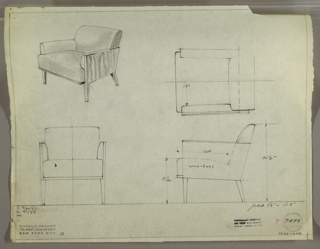 Drawing, Armchair, Upholstered, Wo