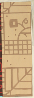 Tan ground with brown rectilinear line pattern of squares, rectangles, and stylized blossoms