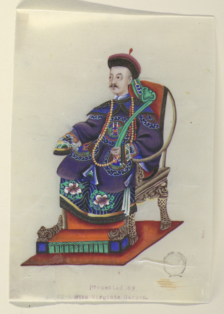 A seated gentleman of elevated station, facing half-left, in an elaborately carved chair, wearing an embroidered robe and carrying a green sceptre.