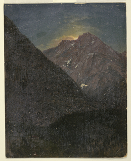 Vertical drwaing of a jagged peak in the background obscures the light of the rising sun.  A deep valley in the foreground, in which is seen a single house, is still obscured in night.