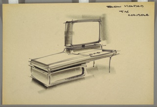 Design for a blow-molded television console. At center, perspective shows overall rectangular unit. At left, it is supported by a low rectangular element, possibly storage or equipment housing. At right, slender legs support surface where control knobs are set before a rectangular TV on a slender pole mounted on an elevated plinth molded into surface. At left, top surface is blank.