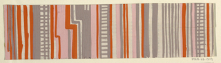 Partial view of pattern design with stripes and checkers of gray, white, pink, and orange.