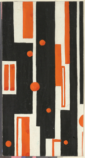 Striped pattern of irregular vertical rectangles with scattered circles in black and orange.