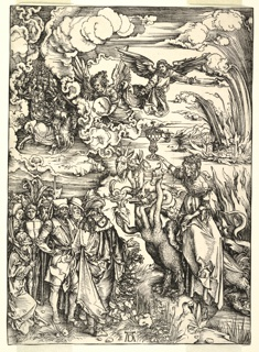 Dense and dramatic outdoor scene; billowing clouds part to reveal winged angels guiding a crowd mid-air, led by the horsemen of the apocalypse (?), upper left. At lower left, an ornately dressed crowd is gathered, standing opposite a horned, seven-headed, long-necked, fantastic beast, ridden by a woman holding aloft an ornate vessel. Signed AD, lower center.