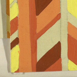 Partial view of a pattern with groups of vertical bars separating herringbone stripes in shades of yellow, orange, brown, and white.