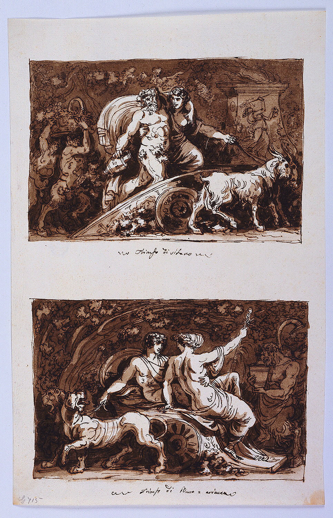 Drawing, Sheet from a Sketchbook: Triumph of Silenus and Triumph of Bacchus and Ariadne