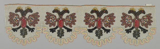 Lace border in white, black, red, blue and yellow. Pattern shows double-headed eagle. Scalloped edge on one side.