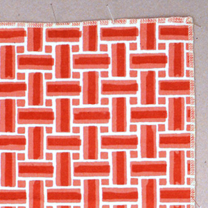 Sample of printed fabric with an all-over geometric pattern resembling the interlacing of warp and weft in a woven fabric, printed in two shades of orange on a off-white ground.
