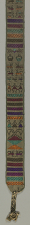 Belt with bands of geometric forms and stylized human figures and animals in dark blue, white, and grey-green. Weft detail in mercerized cotton in orange, red, and purple. Warp plaits at each end.