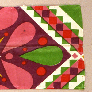 Geometric shapes with tear drops printed in purple, pink, green, red and mustard color.