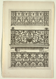 Print, Diferent Ballicons (Different Balconies), in Nouveau Livre de Serrurie (New Book of Ironsmithing)