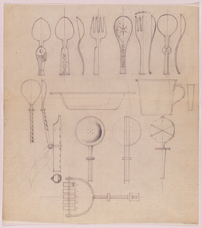 Multiple elevation and side view for spoons, forks, bar tools. Inscribed on one of the spoon designs: MAY 9 1946.