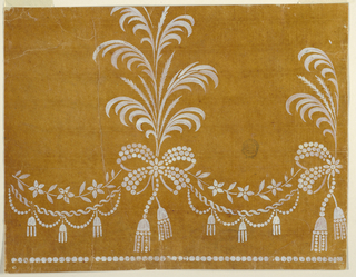 Nosegays, of which one is nearly entirely shown and another partially, form a vertical row connected by festoons. They are compsoed of two kinds of feathery leaves and are fastened to a bowknot with tassels and partially formed by beads. The festoons consist of a flower stem, two entwined ribbons with tassels, a chain of beads. A row of beads is at the bottom.