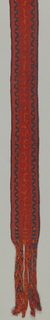 Belt in red, orange and blue with braided warp ends.