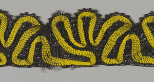 Scalloped bobbin lace borders in black and blue linen with yellow scalloped stripes.