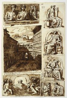 """Recto:  Right row:  Three Sibyls; inscription in ink """"andrea/Pisano"""" and """"sibille su/ le porte/ di S. Petro/ nio in/ Bologna/ del/ senese/ detto/ della/ fonte"""".  The Annunciation in half-figures; caption: """"monu [mento] del 2 cento Bologna"""" Left row:  Roman sepulchral relief with three half figures; caption: """"monumento nel corte del Sig Mattei Roma"""".  View of the court of Palazzo Mattei shown toward the rear:  caption: """"Cortile del palazzo Mattei ornato de belissimi monumenti anitchi al uso/ di un museo Roma"""" God the Father and angels; Caption: """"Lodovico Caracci Bologna"""" Left borrom corner: """"87""""; top center """"150""""  Verso: Head of a horse with half opened mouth, shown twice raised and in profile, twice lowered, and obliquely in two different directions."""