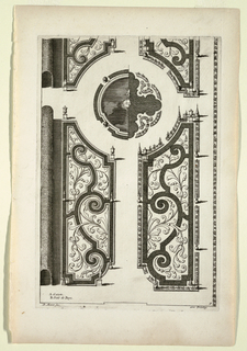 Symmetrical arrangement of parterres de broderie in four sections around a central fountain/parterre; each section consisting of a scroll pattern with leaf and floral motifs (broderie) in between; borders interspersed with urns and topiary.  Along left side, boxwood tunnel.
