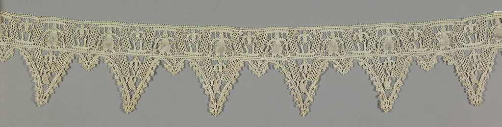 Length of bobbin made lace with triangular points, a large point alternating with a tiny one. Two human figures alternate in the band; a woman in a long dress and a thin naked man (?). The same naked figure plus a bird used in the larger.