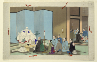 From a series of sixteen scenes of the death and burial of a man in Japan.