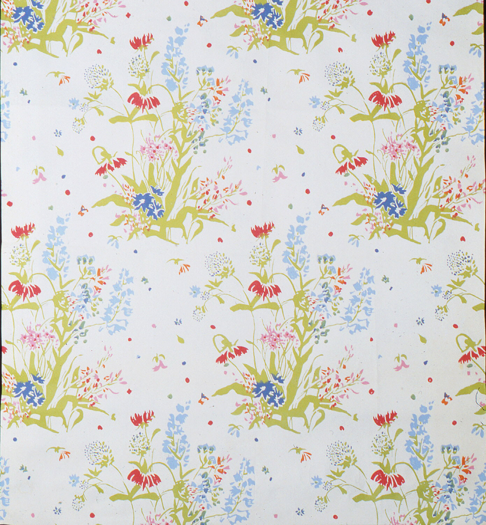 Floral design with red and blue flowers, printed on white ground.