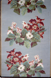 Large red and pink flowers on gray ground, with two different floral variations alternating.