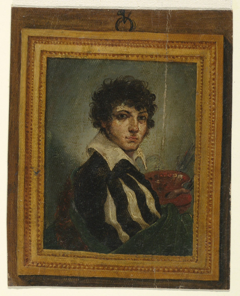 Trompe l'oeil view of a framed portrait of a youth with slash sleeves facing right.