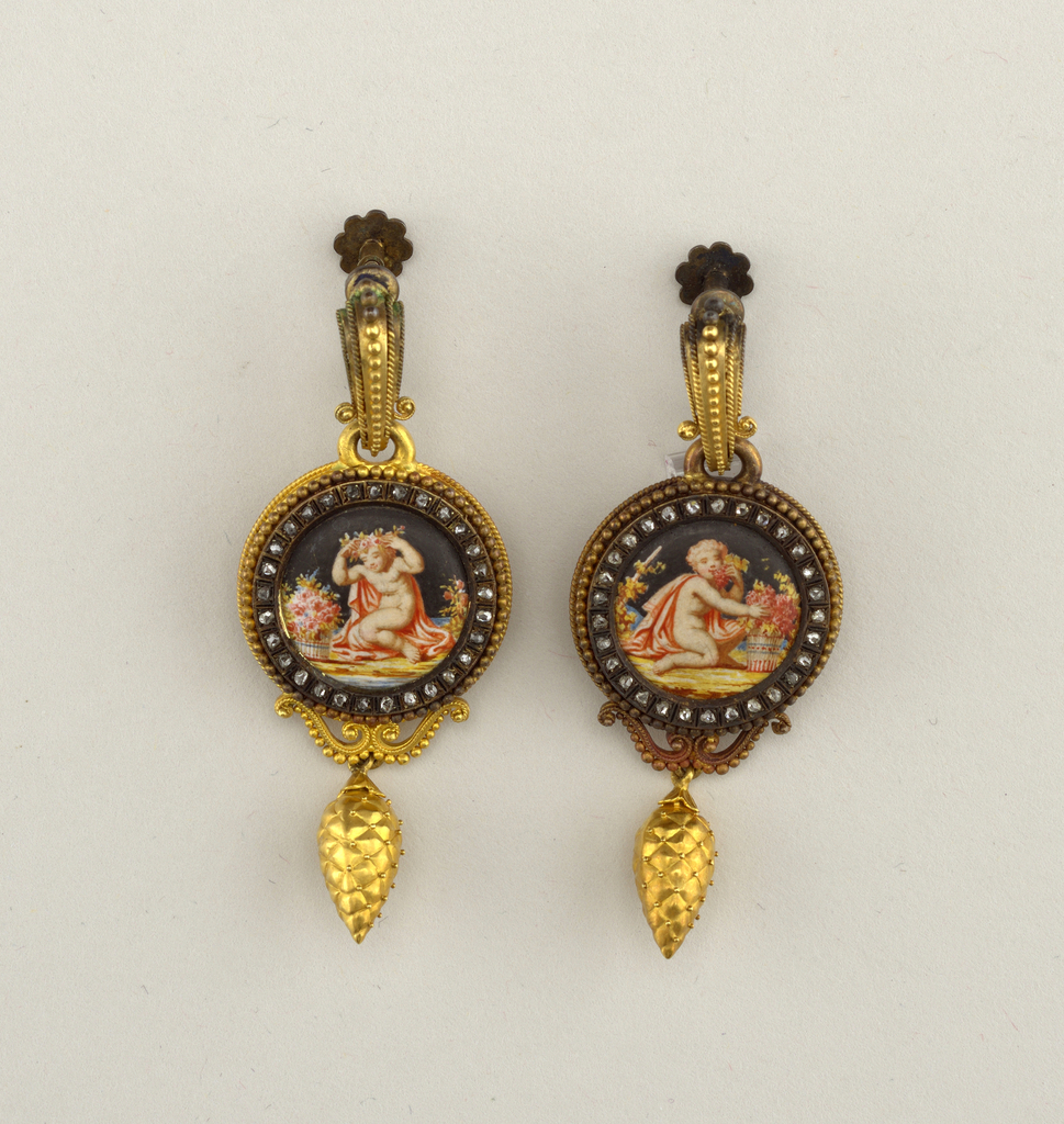 Earrings with screw fasteners.  A shows child placing floral wreath on head and b shows a child smelling flowers, painted on circular plate surrounded by rose diamonds and gold frame; half-ring at the top, the other half cut away for the screws; ornament with pine cone at the bottom.  Screw fasteners are probably a later addition.