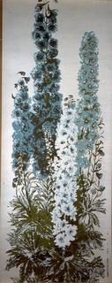 Large-scale delphiniums printed in blue and white, with green foliage at base, on white ground. Strip number 3 from series.