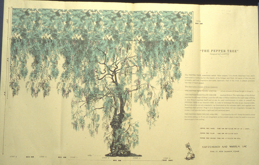 Miniature of a mural, pepper tree in green and brown printed on light yellow ground.