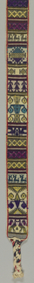 Belt with a series of narrow panels of geometric designs and stylized animals and birds in red, white, black, yellow, turquoise, purple and magenta. Warp ends are braided at either end.