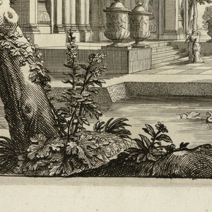 At the left, there is a large building decorated with niches filled with statues, and amphorae. Surrounding the building is a manmade lake with swans. Trees can be seen throughout, including a large tree on the left. Female figures gesture at the building.